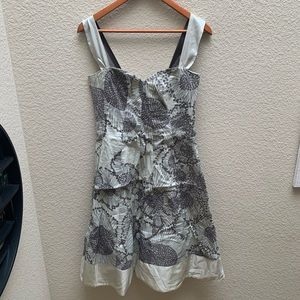 Anthropologie Odille Gypsophila Dress Gray Floral